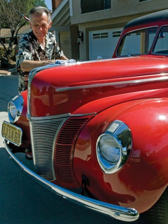 Jon Blickenstaff, the former mayor of La Verne, restored a 1930s Ford Woody after buying it as a pile of parts. The maple siding of the car was a custom installation by Blickenstaff's friend, a carpenter. / photo by Rhiannon Mim