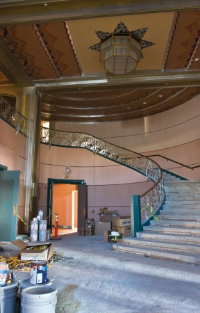 The grand lobby at the entrance to the Fox Theatre includes a 1930s staircase with a large portion of the original banister and metal work. / photo by Rhiannon Mim