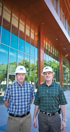 Tom Billings has served as the project manager and Kurt Rothweiler is the president of KAR Construction, which built the Campus Center for ULV. Both men have worked to help the building reach completion ahead of schedule. / photo by Rhiannon Mim