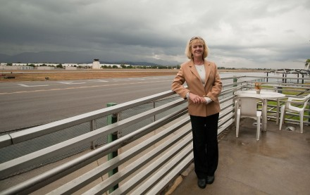 Kathy Touche, former wife of In-N-Out past president Guy Snyder, now reigns over her own restaurant, Norm's Hangar, located in the Brackett Airport terminal. / photo by Courtney Droke