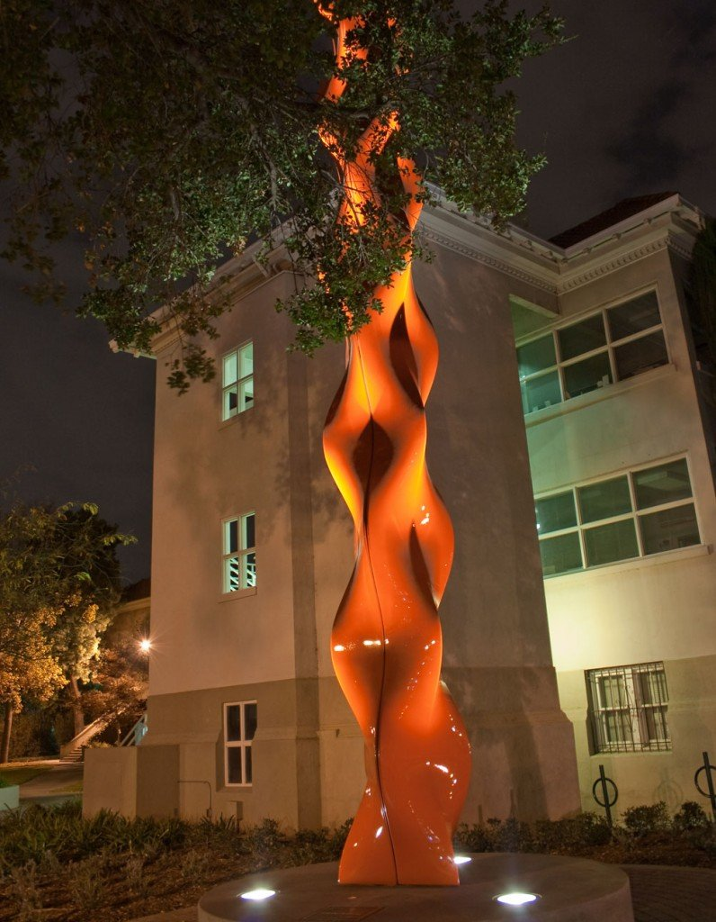 """""""Inhale/Exhale,"""" University of La Verne's first major public art piece, commands attention night or day in the new Muriel Pollia Sculpture Garden. Artist Phillip K. Smith, III is the designer behind the 54 foot structure. / photo by Courtney Droke"""