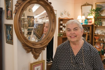 "Like a mirror to the past, Betty Kalousek's antiques reflect the changing of time. Betty, the owner of Generations Antiques & Art, located on ""D"" Street, has lived in La Verne for 50 years with her husband Verne. / photo by Michel D. Martinez"