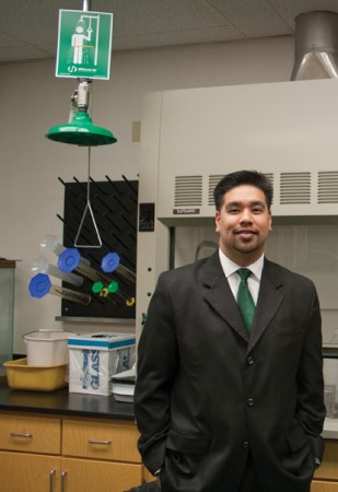 Back in the University of La Verne science lab he knew first as a student, Jerome Garcia, ULV biology department chair, says he graduated from La Verne not only as a well-prepared scientist, but also as a confident person—one who learned much about himself. / photo by Michael D. Martinez