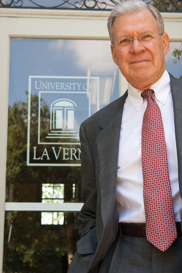 Proud of his accomplishments, University of La Verne President Steve Morgan retires in 2011 after 25 years at the helm. / photo by Michael D. Martinez