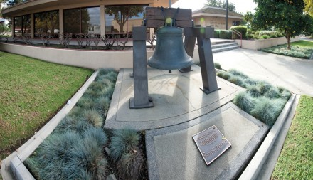 La Verne's Liberty Bell replica tolls for happier financial times. In 1976, the city of La Verne purchased a cast Liberty Bell to celebrate the United States bicentennial. Of the 100 bells that were replicated in London from the White Chapel Foundry, two bells were awarded to each state, with La Verne and Bakersfield successfully bidding for California's allotment. The bell represents the city's heritage and freedom and is partnered with a time capsule buried on site July 4, 2000, which will be opened in 100 years on July 4, 2100. / photo by Nicholas Mitzenmacher