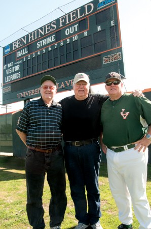 Left to right: Coaches Owen Wright, Ben Hines and Scott Winterburn stand together for the future of La Verne baseball. / photo by Christopher Guzman