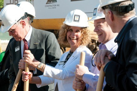 Flanked by La Verne's leaders, incoming president Devorah Lieberman takes part in the March 31, 2011, residence hall ground breaking ceremony. Steve Morgan, former president (left) and Luis Faura, ULV Board chair (right), have been working with Devorah to better shape La Verne's future since she was named president-select, Dec. 7, 2010. Kurt Rothweiler, former ULV Board of Trustees member and president of K.A.R. Construction (far right), heads the construction project. / photo by Christopher Guzman