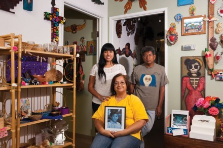 A family unit still in spirit, Theresa, Jose and Annette Armas hold on to the memory of their lost son, Carlos Jose. / photo by Scott Mirimanian