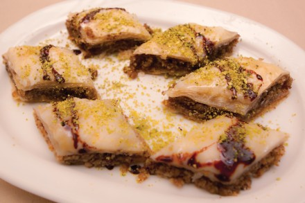 One of The Patio's most popular desserts is baklava. Master chef Imad Hakim says that baklava originated from Greek culture yet is an important part of Mediterranean cuisine. / photo by Debora Escobar
