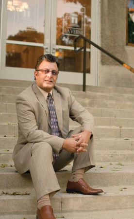 "Avo Kechichian vividly remembers sitting on the Founders Hall stairs his first day at La Verne, pondering the culture changes he faced as a foreign student from Lebanon and thinking, ""Did I make the right decision?"" / photo by Mitchell Aleman"