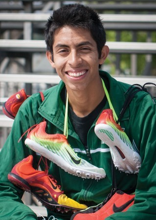 Cristobal Gutierrez, senior psychology major, a distance runner in the spring and a cross country runner in the fall, holds school records in the distance medley relay and the 3,000 meter steeplechase. Cristobal  plans to become a coach in track and field. / photo by Nicole Ambrose