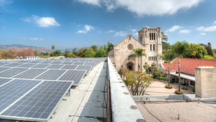 Hidden to the members of the La Verne Church of the Brethren, a sea of solar panels lies on the roof of its Fellowship Hall. The installation of these panels was completed Sept. 21, 2012, and the Church is now almost 100 percent solar powered. / photo by Hunter Cole
