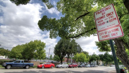 University of La Verne commuters and local La Verne residents clash due to the streets filling up with cars during the school day. The city of La Verne posted temporary no parking signs around the city streets surrounding the University to limit the number of cars parked in front of resident houses. / photo by Mitchell Aleman