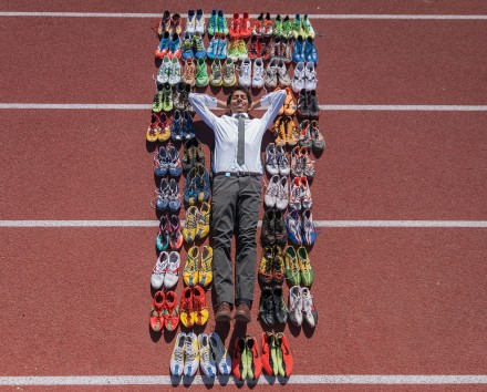 Cristobal Gutierrez owns 54 pairs of athletic shoes, most of which are spikes. Cristobal began his track and field career in his freshman year at Montclair High School. / photo by Nicole Ambrose