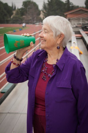 Peggy Redman enjoys rooting for the Leopards with whom she grew up. Peggy attended La Verne's football games as a child, continuing into adulthood. From her father to her sons, La Verne football has been a part of her life. / photo by Stephanie Ball
