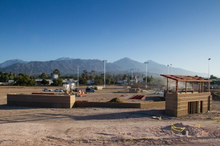 The baseball and softball fields begin to take form November 2013 at  the University of La Verne's Campus West. The baseball field, at picture front, and the neighboring softball field, will afford spectators a great view of Mt. Baldy's peak, visible to the north. / photo by Ryan Gann