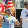 "After the runners completed the Tap 'n' Run race, they competed in many silly competitions, including some that tested their belching and dancing skills. Travis Humble and Mitchell Vallejos square off in the contest for ""Best Moustache."" When it was all said and done, Vallejos got the win and the prize, a custom beer mug. / photo by Hunter Cole"