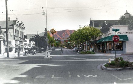 Laying the present on top of the past with Adobe Lightroom and Photoshop, Photography Editor Hunter Cole creates a picture that captures the intersection of Third and D streets, looking north, in the 1920s and 2014. While some of the store front facades have changed, most of La Verne's downtown buildings are the original early 1900 structures. Of note, La Verne's shop owners, past and present, used store front awnings. / photo illustration by Hunter Cole
