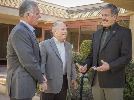 City Council Members Tim Hepburn (left) and Charlie Rosales (right) discuss their upcoming agendas with La Verne mayor Don Kendrick. / photo by Jolene Nacapuy