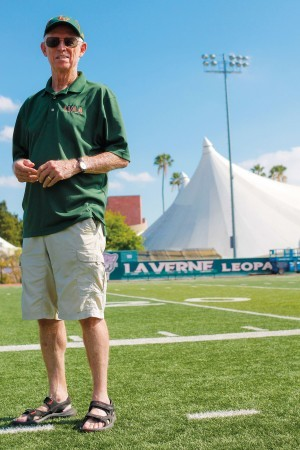 """Bob Dyer has gained many University of La Verne awards as an alumnus, including """"Alumnus of the Year"""" in 2000 and selection to the Athletic Hall of Fame in 2009. Two years ago, he received what he considers one of his highest La Verne honors when President Devorah Lieberman invited him to join the University of La Verne Board of Trustees. / photo by Chelsey Morrison"""