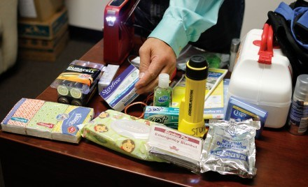 Essential items when preparing for a disaster include a whistle, local maps, a three-day supply of non-perishable foods and extra batteries. Also handy items to have ready for use include personal sanitation items like hand sanitizer, lotion, maxi pads and Q-Tips. / photo by Jolene Nacapuy