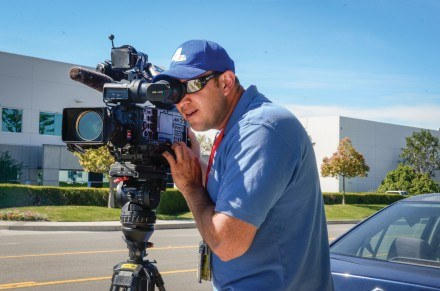 NBC4 photographer Alex Vasquez sets up his camera to film b-roll for a story about a fatal street racing crash that occurred March 9 in Ontario. Alex first surveyed the scene to get an idea of what he wanted to shoot for the story before filming. / photo by Katelyn Keeling
