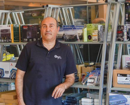 Tony Salehpour, general manager of Computer Village, owned by parent company Computer Concepts, Inc., says the ongoing demolition of the boardwalks and construction of the new cement sidewalks has decreased customer traffic to his store located on Bonita Avenue in down-town San Dimas. / photo by Sarah VanderZon