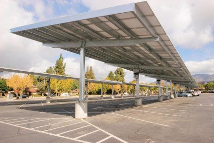 Bonita High School was one of the first schools to receive installed solar panels. The agreement between Sun Power and the Bonita Unified School District targeted the high schools to be the first facilities to gain solar panels, since they needed parking lots to be open during the school year. / photo by Berenice Gonzalez