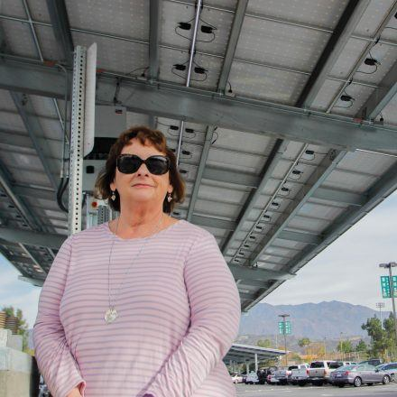 During the initial construction of the solar panels, some residents on the east side of Ramona Middle School were displeased beca­­­use the solar panels blocked their view. After long discussions with Ann Sparks, assistant superintendent, business services, of the Bonita Unified School District (pictured), the residents agreed to a compromise. Sparks worked with Sun Power to come up with a different design that would lessen the impact on the neighborhood. The solar panels were ultimately moved to the parking lot. / photo by Berenice Gonzalez