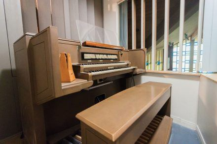 The chapel's two manual Moller pipe organ was originally placed in the building during its 1966 construction. The pipe organ is installed in a small loft space located above the entrance to the sanctuary. With the building scheduled for replacement with a new Interfaith Spiritual Center, the faculty and staff members who work in the chapel are still unsure of the pipe organ's new destination. / photo by Meghan Attaway