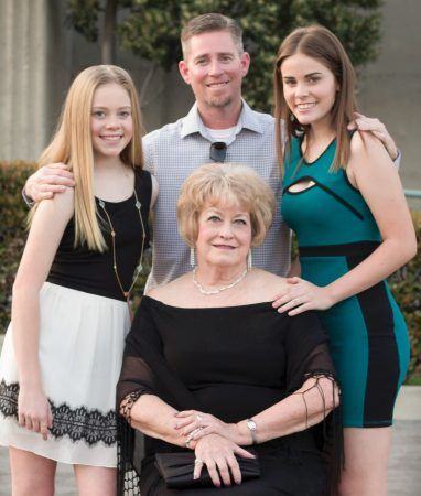 Mary Ann enjoys the company of her son Scott Harvey and granddaughters Kalyn and Loryn at the 2017 University of La Verne Scholarship Gala. As a Board of Trustee member, she attends many University sponsored events. She believes that it is important for a trustee to uphold the University of La Verne core values of ethical reasoning, diversity and inclusivity, lifelong learning, and community and civic engagement. / photo by Kathleen Arellano