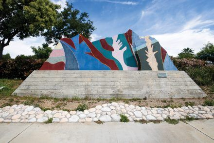 """""""It's Your Fault,""""by Leah Vasquez, sponsored by the developer of Gateway Pointe on Foothill Boulevard and Moreno Avenue, represents the artist's interpretation of the San Gabriel Mountains. Over time, the colors of the sculpture have faded in the sun. / photo by Breanna Ulsh"""