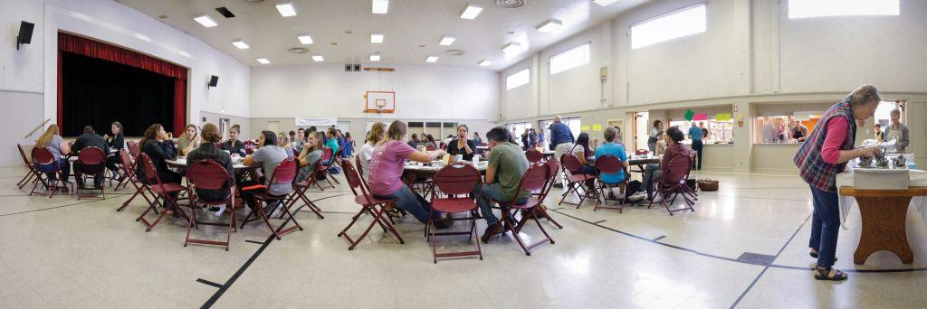 Students eat in the Church of the Brethren Fellowship Hall. / photo by Nadira Fatah