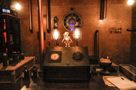 "The ""Alchemy and Wizardry Experience"" includes mythical mystery as one steps into the wizard's study. What does this machine do? This family friendly room is riddled with puzzles that must be solved before time runs out. / photo by Celeste Drake"