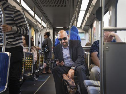Gustavo Martinez began riding the Gold Line to work every day after he crashed his car on the way to his office two years ago. After the shock of the incident, Gustavo says that he now only rides the Gold Line because it is a safe and fast way to get to downtown Los Angeles. / photo by Nadira Fatah