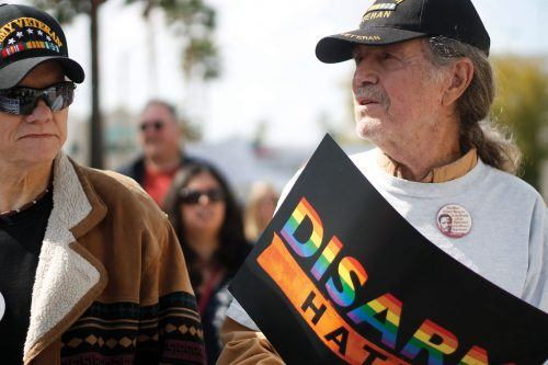 Carl Ecklund and Dan Kennan participate in Riverside's March for Our Lives on March 24, 2018 at the Riverside Historical Courthouse at 4050 Main St. / photo by Celeste Drake