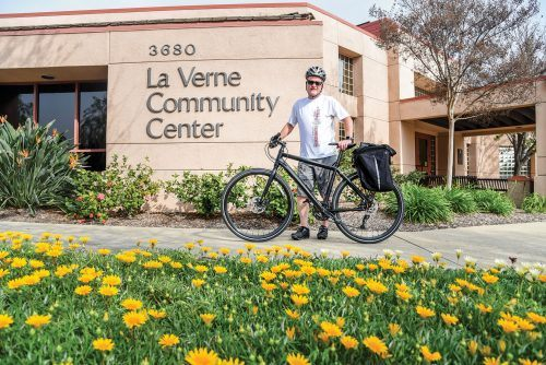 Cycling through life, La Verne City Councilman Muir Davis aims to focus on a General Plan and Active Transportation Plan in partnership with other Council members that will coordinate the redesign of roads so that they serve cyclists and pedestrians as well as motorists. / photo by Cortney Mace