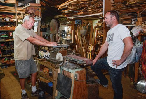 Ken Ruppert and son Dusty Ruppert maintain a workshop where they restore, refurbish and repaint furniture and antiques for their customers. / photo by Dorothy Gartsman