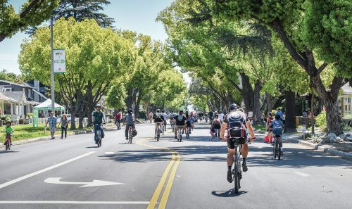"""CicLAvia held a ride called """"Heart of the Foothills,"""" from 9 a.m. to 4 p.m. on Earth Day, April 22, which started in San Dimas on Bonita Avenue and passed through La Verne. The route proceeded to Arrow Highway, traveling through Pomona before ending in Claremont. CicLAvia is a non-profit organization that promotes alternative modes of transportation, good health and the usage of public spaces. The ride closed parts of Bonita Avenue and Arrow Highway to motorized vehicles for 6.5 miles. While the rotating event is centered around a safe environment for cyclists, it also allows pedestrians for one day to walk, run and skate freely in the street. / photo by Cortney Mace"""