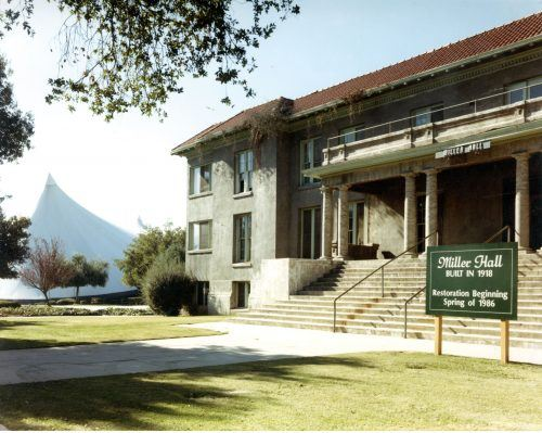Miller Hall in the mid-1980s, shortly before the start of its restoration in 1986. Great care was taken during the restoration to keep the building's exterior faithful to its original look. / photo courtesy University of La Verne Archives