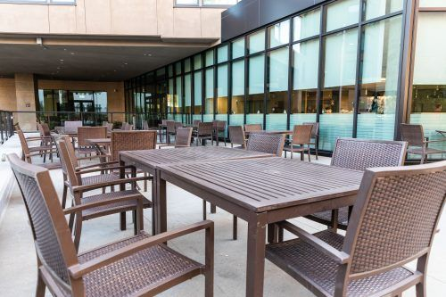 The Spot is equipped with two patio areas, one northwest of the dining hall and one northeast. / photo by Jaren Cyrus