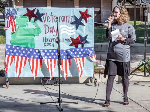 University of La Verne President Devorah Lieberman thanks Diana Towles, Center for Veteran Students success coordinator, for her hard work putting together the Nov. 12 Veterans Day events in Sneaky Park. / photo by Ariel Torres