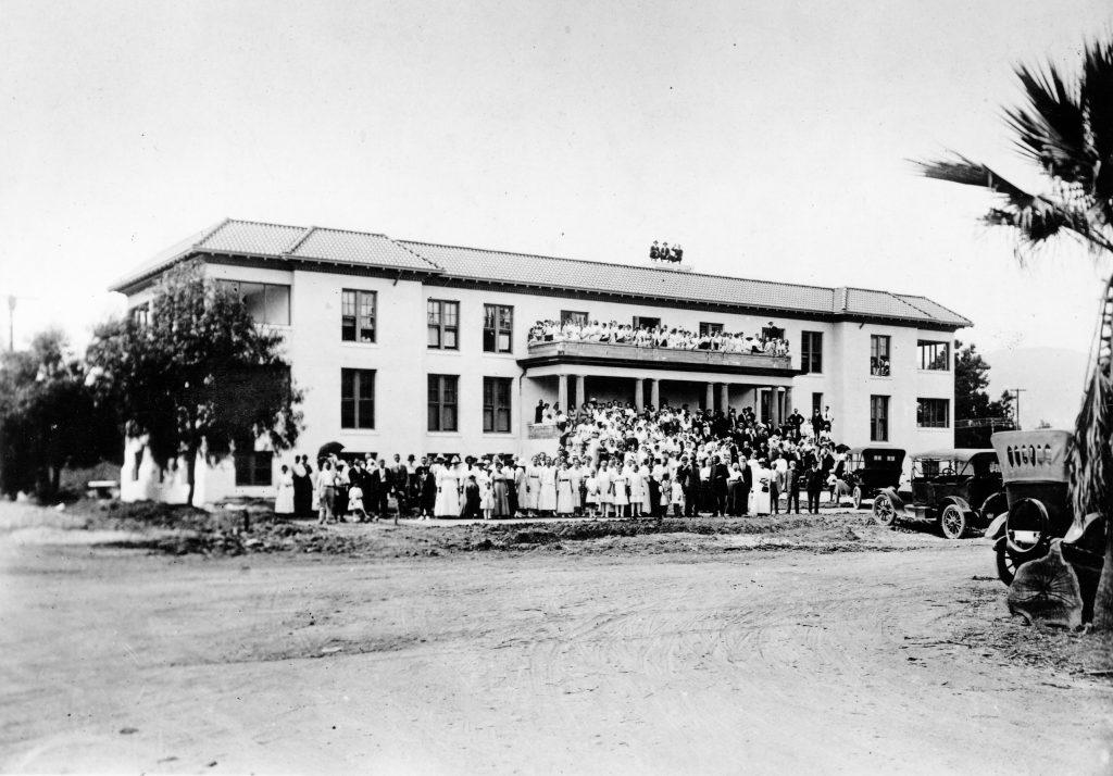 College and city officials joined together to celebrate the dedication of Miller Hall, Friday, Sept. 6, 1918.  With its opening, Miller Hall became an all collegiate use building on the fledgling campus. / photo courtesy of University of La Verne Archives