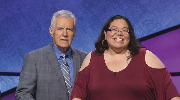 "Mary Ann Borer and Alex Trebek capture the moment toward the end of her time on ""Jeopardy!"" She took home $88,500 after successfully making it through four rounds. / photo courtesy of Sony Pictures Entertainment"