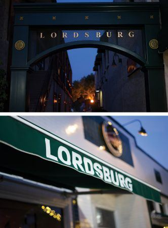 The name Lordsburg, once derided, is now a source of historic pride, appearing in Old Town La Verne signage, (top) on an alleyway and (bottom) on the Lordsburg Tap House and Grill. / photos by Christian Shepherd