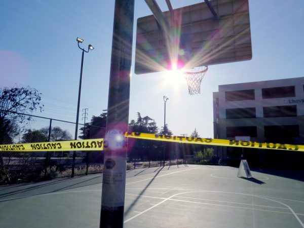 You won't find ULV students engaging in casual pick-up games any time soon. The kind of fun that spontaneously arose after a long class period has suddenly ceased. Like the rest of the closed campus, the blocked off courts encourage passerby to stay safely away. / photo by Natalie Sirna