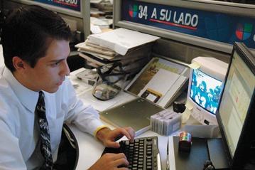 Enrique Gutiérrez composes sports drama for his KMEX Channel 34 audience. / photo by Reina Santa Cruz