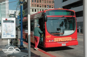 At the Blue Line's last stop, the Long Beach Transit Mall, passengers can walk a block to Pine Avenue and Ocean Boulevard and board the Passport Line C to continue on to the Queen Mary. / photo by Reina Santa Cruz