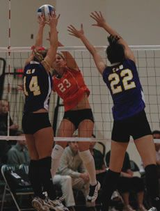 Jodi Lindsay goes for the kill against Cal Lutheran. /photo by Lindsey Gooding