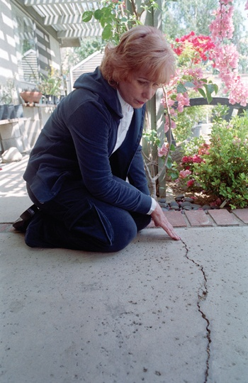 Sharilyn Morell has lived in her house on Beaver Way in La Verne for 26 years and says she is no longer able to use her back yard because of excessive freeway noise. Morell also says this linear crack was caused when an I-beam was pulled out of the ground during the freeway construction. The resulting damage spread across four houses on Beaver Way, she says. / photo by Sara Kirk